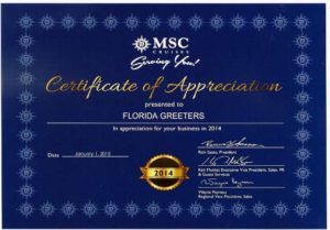 Copy of MSC Production Appreciation award to Florida Greeters from MSC